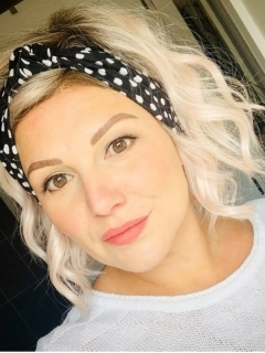 Eadiechops | Wrap Ladies Knotted Headband | Black and White Dotty | Hair to Ware