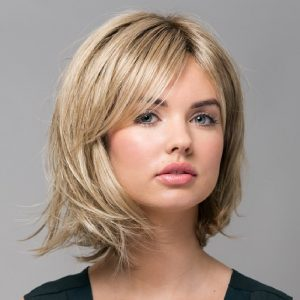 Hazel | Fibre Wig | Sentoo Lotus Collection | Trendco | Oak Melange Rooted | Flick | Front | Hair to Ware