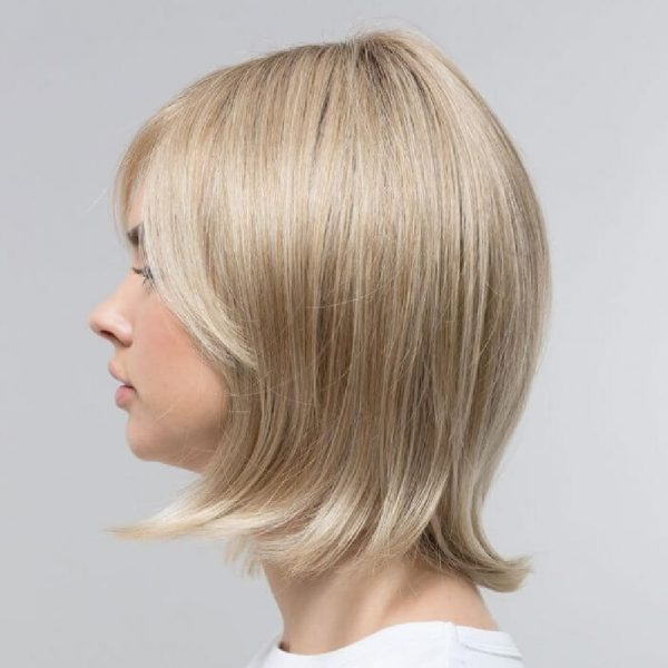 Hazel   Fibre Wig   Sentoo Lotus Collection   Trendco   Oak Melange Rooted   Straight   Side   Hair to Ware