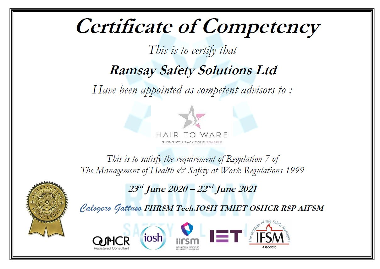 Health & Safety | Certificate of Competency | Hair to Ware | Ramsey Safety Solutions Ltd