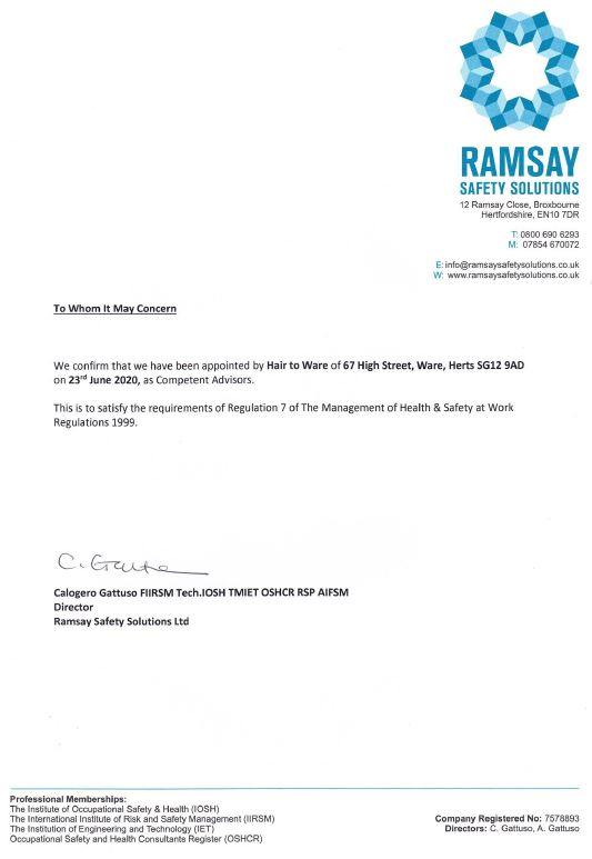 Health & Safety | Letter of Engagement | Hair to Ware | Ramsey Safety Solutions Ltd